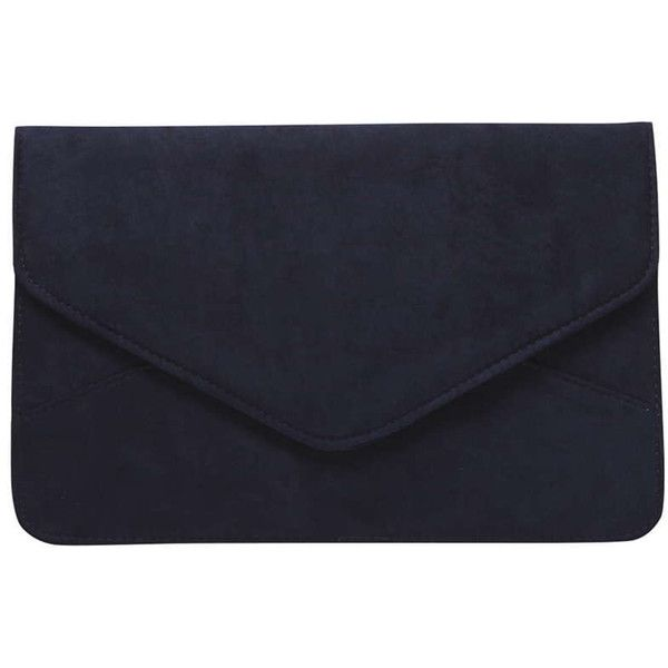 Dorothy Perkins Navy Faux Suede Clutch Bag ($14) ❤ liked on Polyvore featuring bags, handbags, clutches, blue, navy handbag, navy blue evening bag, navy blue handbags, navy blue clutches and navy purse