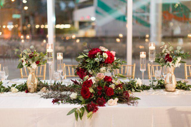 Modern Tampa Museum Wedding, Bourbon and Blush Events, Modern Wedding, Tampa Wedding Planner, Florida Events Planner, Wedding Designer, Romantic Museum Wedding, Tablescape, Burgundy wedding florals, Head Table