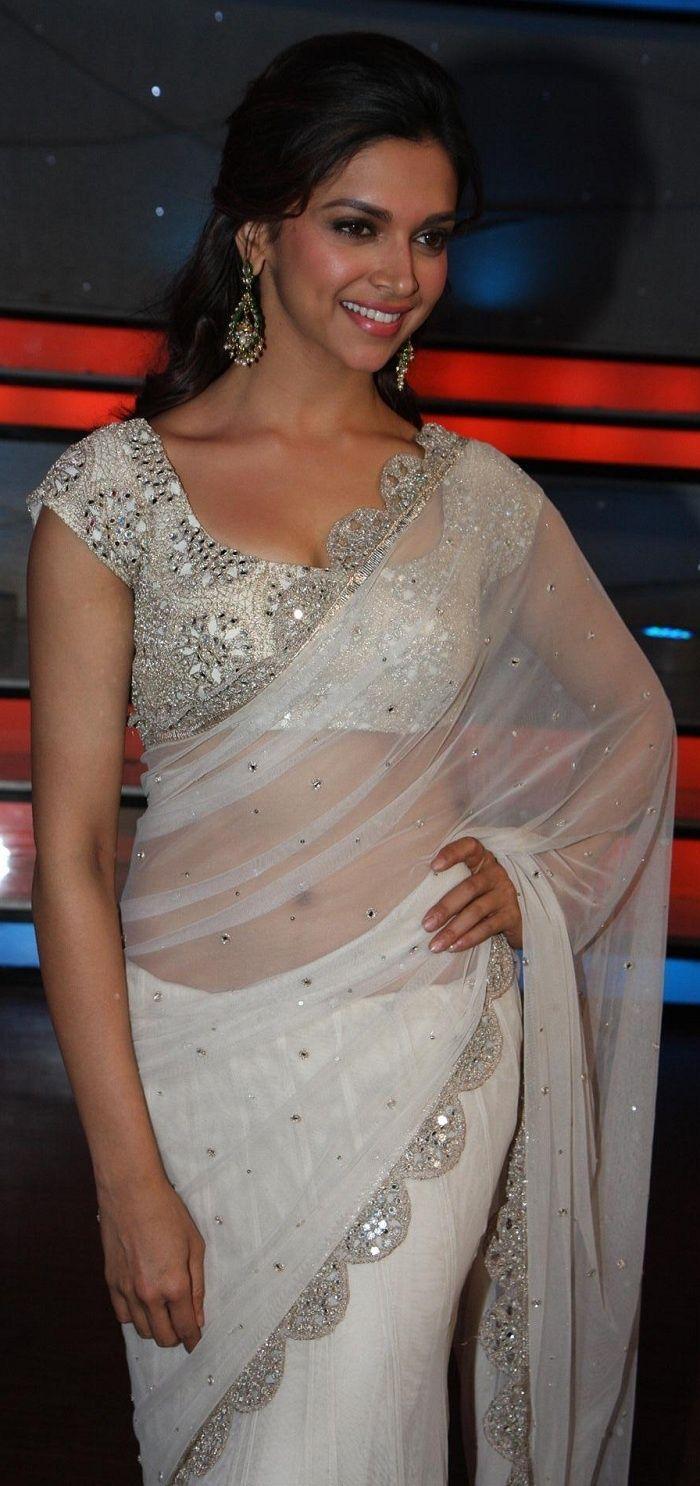 Deepika Padukone looks gorgeous in a white net sari by designer Anand Kabra. Bridelan - a personal shopper & stylist for weddings. Website www.bridelan.com #Bridelan