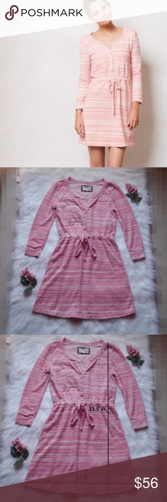 Anthro Saturday Sunday Pink Poppy Space Dye Dress Anthro Saturday Sunday Pink Poppy Space Dye Dress. Size XS. Long sleeve dress with adjustable draw string waist. Comfy fabric: 60% Cotton 28% Polyester 12% Spandex. Like new! Anthropologie Dresses