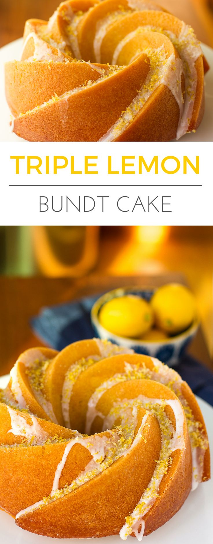 Triple Lemon Bundt Cake -- luscious lemon butter cake infused with lemon syrup, drizzled with a lemon glaze and topped off with a sprinkling of lemon sugar = HEAVEN!!! A to-die-for bundt cake recipe. | via @unsophisticook on unsophisticook.com
