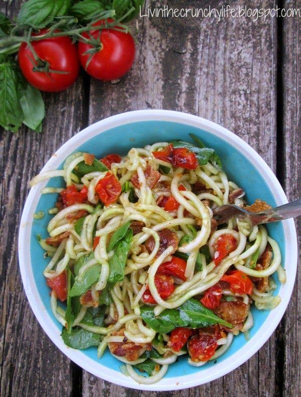 Cucumber Noodle BLT Salad with Tomato Basil Vinaigrette (Paleo, Whole30)