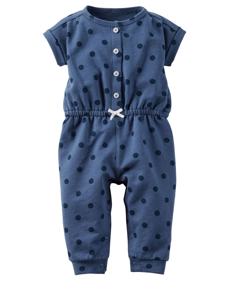 With allover polka dots, a cinched waist and a sweet tacked bow, she'll be playing in style in this easy-on French terry jumpsuit!
