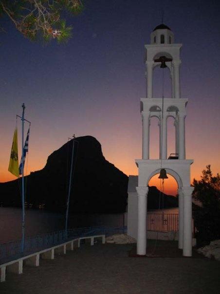 Massouri church with Telendos behind it. Kalymnos.