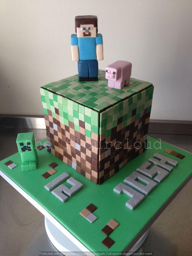 A Minecraft birthday cake.