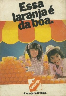 Simony e Jairzinho vendendo Sukita (A laranja da Brahma) em 1988.