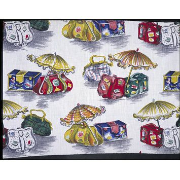 Luggage (Dress fabric) Date: 1946 (designed and made) Place: Great Britain Artist/maker: Hertz-Sternberg, Ursula