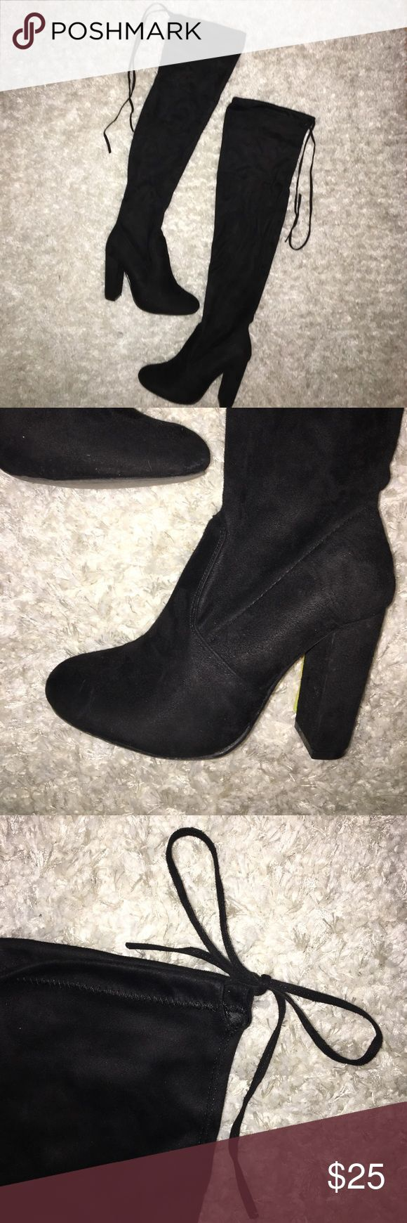black suede knee high boots black suede knee high boots with ties behind the knees No Doubt Shoes Over the Knee Boots