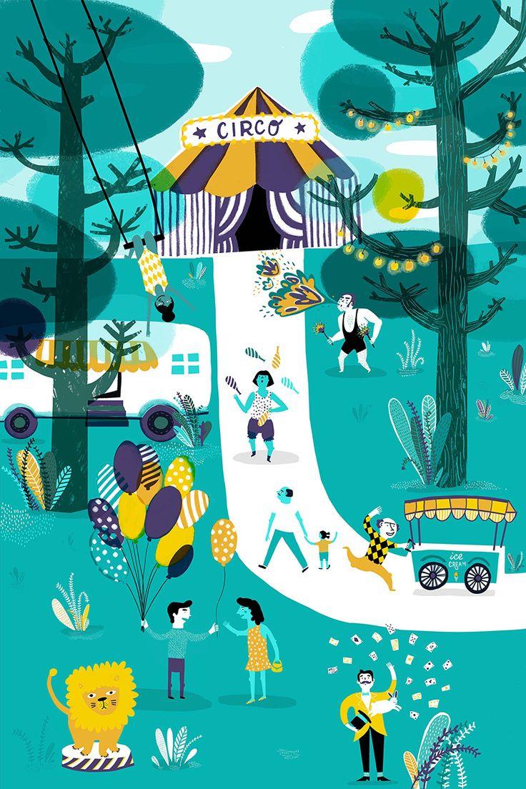 #anaseixas #newdivision #illustration #circus #trees #lion #ringmaster