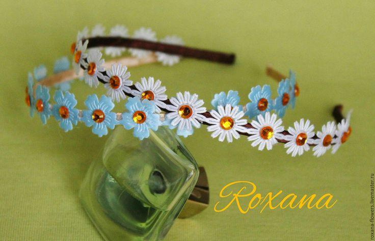 """Купить Ободок """"Милые цветочки"""" - белый, ромашка, ромашки, ободок с ромашками, ободок для волос"""