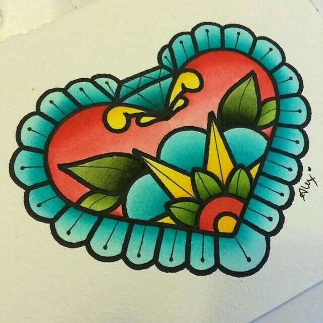 Girly traditional heart with flower