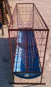 Goat feeder. Rebar wielded to make frame