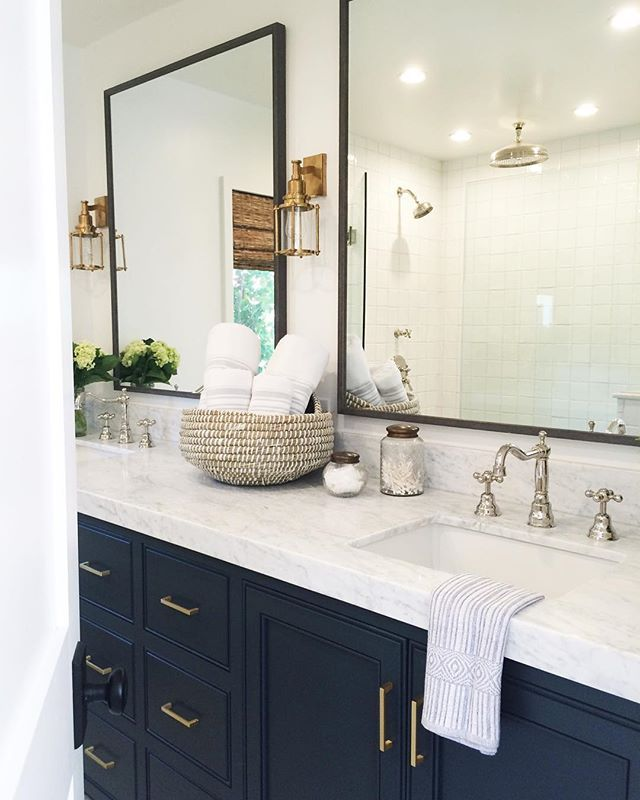 Bathroom // Navy Cabinets