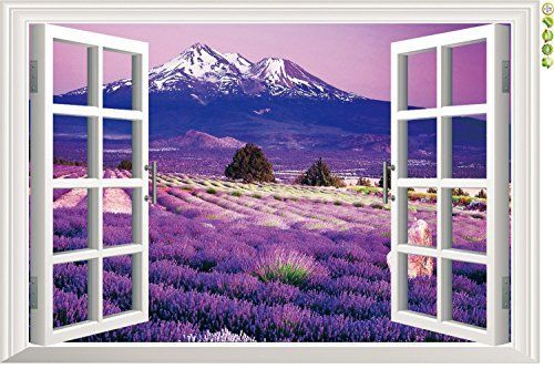 Amaonm 3d Landscape Lavender Flowers Fake Window Sticker Wall Decals Huge Removable 3d Window View Wall Art Wallpaper Murals Wall Stickers Peel  Stick 9234b ** Click on the image for additional details.