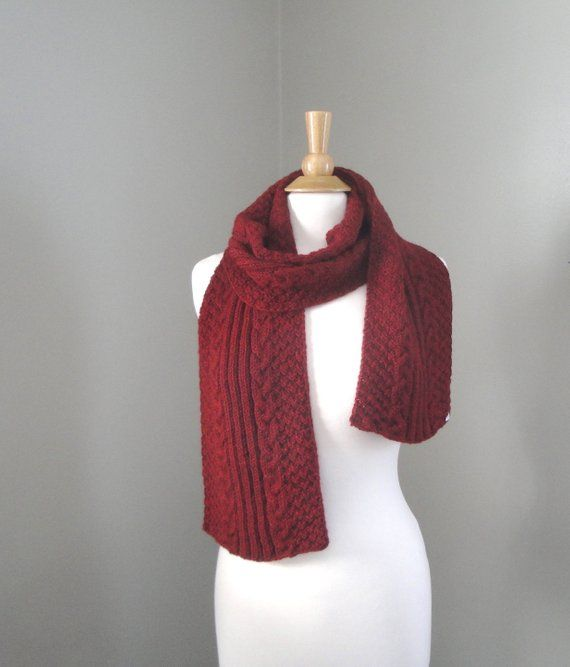 abd9e32a3c Burgundy Red Scarf with Cables, Hand Knit, Alpaca Wool, Men Women ...
