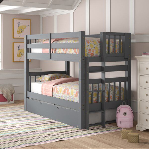 Treva Twin Over Twin Bunk Bed With Trundle Twin Bunk Beds Bunk