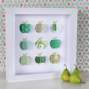 apple art.  Could make something like this using my Cricut machine!  Could be other cute simple shapes too.  I'm thinking hearts for v-day...?