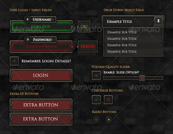 RPG User Interface Elements - User Interfaces Game Assets