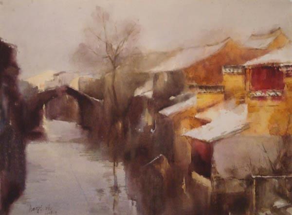 """Zhao Haoyi, """"WARM SHINE"""", cm 54×79 acquerello su carta"""