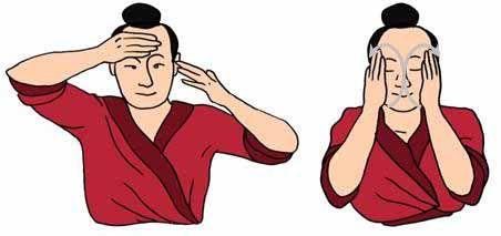 masajear la frente alternando una y otra mano, activa la fluencia de qi en los senos frontales, efecto antiarrugas lavarse la cara subir por...