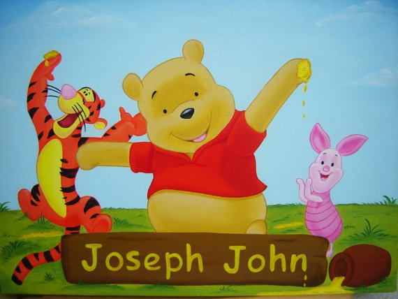"""Custom Acrylic Painting Winnie the Pooh with Personalized Name, 16""""x12""""."""