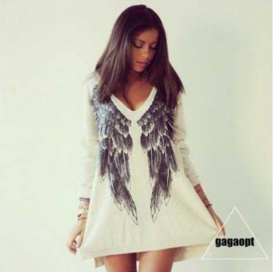 Купить товарAliexpress товары по всей европе и новых ангельские крылья с обеих сторон носить с длинными рукавами печать на футболках через женский в категории Футболкина AliExpress.