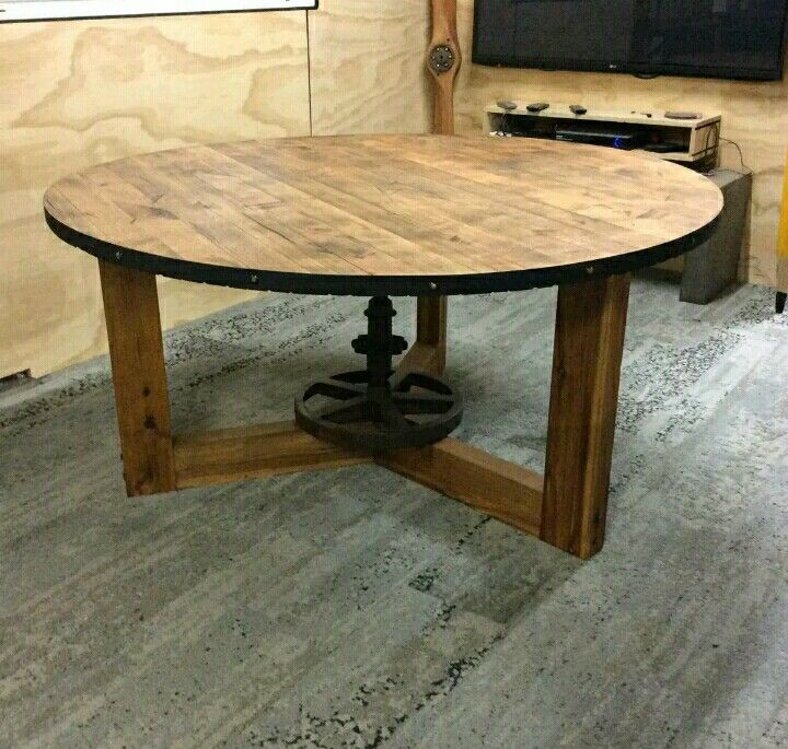 Industrial rustic round dining table