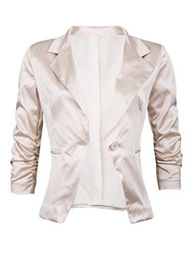 37a3a0e4ac8d GIOVANI   RICCHI Eleganter Satin Damenblazer Blazer Baumwolle Jäckchen  Business Freizeit Party Jacke in mehreren Farben 36 38 40 42 Color Be…