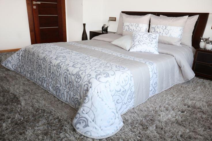 Luxusní bílo šedé přikrývky na manželskou postel VINTAGE