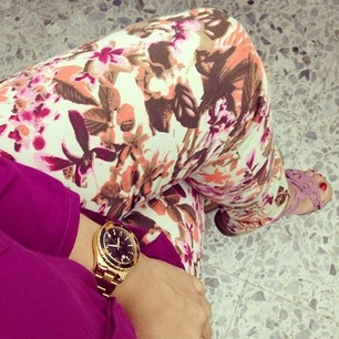 Printed pants and magenta!