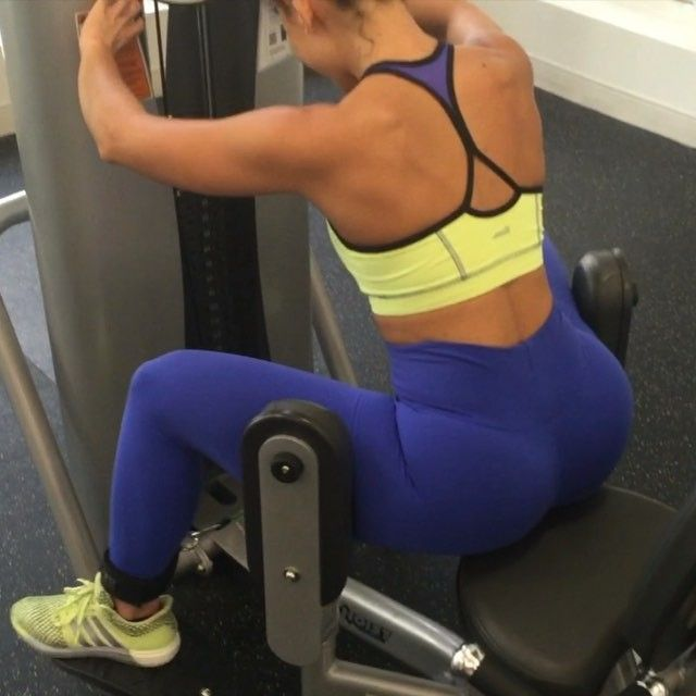 Heavy glute day circuit: - on the abductor machine: sit on the edge of the seat and go as heavy as you can for 20 reps. Immediately drop weight by 20-40 lbs and repeat until failure. - 20 lateral low squat walks with lateral bands - on the cable machine: 15 donkey kicks on each side