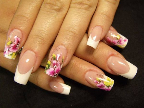 42 Nail Art Ideas...pink and yellow flowers with white curved to french manicure