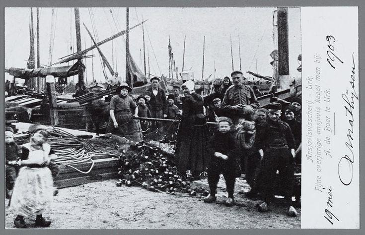 Ansjovisscherij - Urk. 1900-1903 Groep vrouwen, kinderen en mannen aan de haven poseren rondom een net anjovis, op de achtergrond schepen. #Urk