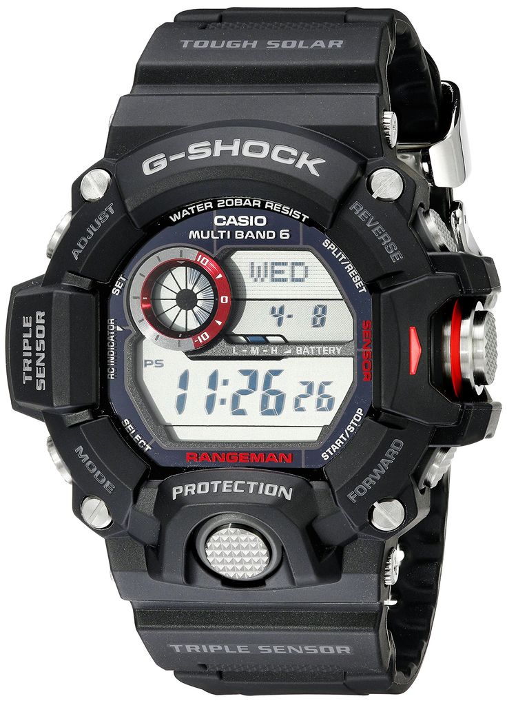"SOLAR POWERED!!! Casio Men's GW-9400-1CR ""Master of G"" Stainless Steel Solar Watch:"