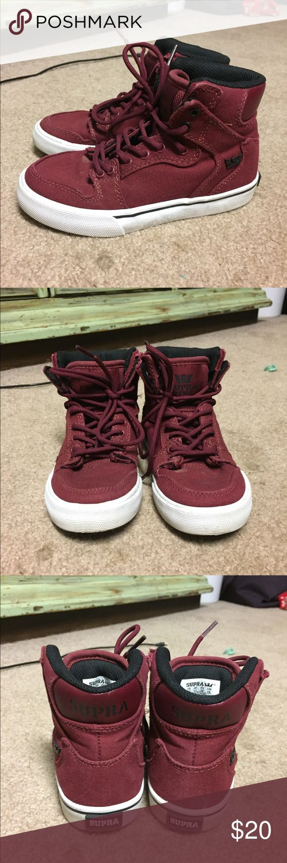 Supra high top kids shoe Kids size 12. Used but in great condition! Maroon red. Supra Shoes Sneakers