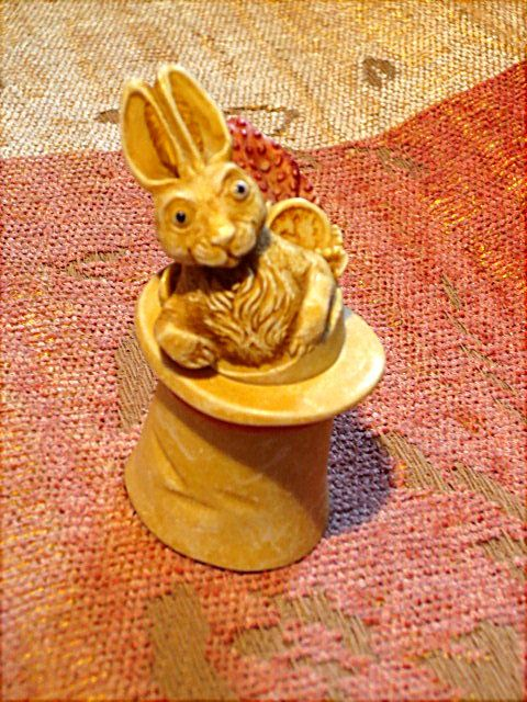 """Rabbit in a hat.  Measures 2 5/8"""" tall.  Price is $3.99.  Rabbit may be removed from the hat.  Look in Vintage Items on website http://barbspencerdolls.com"""