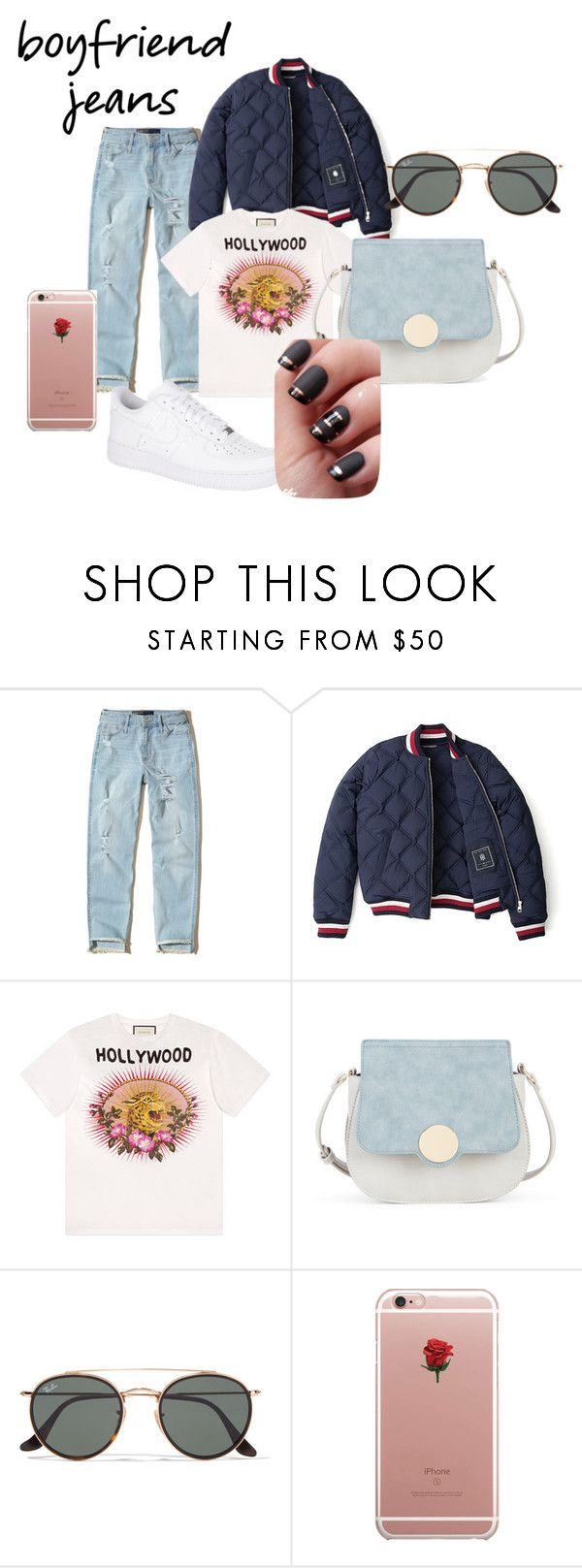"""""""trip out and about in NYC"""" by mandalinaqitrydewi on Polyvore featuring Hollister Co., Tommy Hilfiger, Gucci, Sole Society, Ray-Ban, ETUÍ and NIKE"""