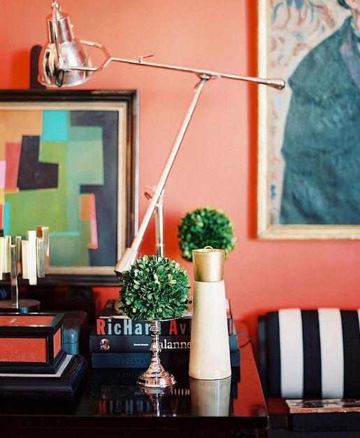 lonnyVignettes, Decor, Wall Colors, Black And White, Lonny Magazines, Interiors Design, Black White, Coral Wall, Accent Wall