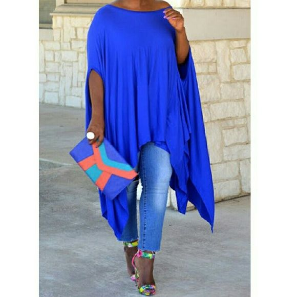 Royal Blue Unbalanced Boho Tunic/Dress New Arrivals  Size Medium Blue Flowy Unbalanced Bohemian Style Tunic/Dress..Looks Great With Denim As Seen In First Pic Or With Leggings...Also looks amazing worn as a dress with some wedges or caged sandals  Ladies If You're Interested In Red & Black Comment Below With Your Size And I'll Let You Know When They'll Be In stock...additional colors will be available soon..Sizes: S, M, L, XL, XXL         No Trades Price Firm ✈✈Ships Same Or Next Day✈✈ Tops…