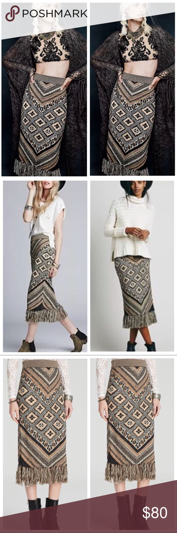 """FREE PEOPLE MIDI BLANKET skirt FRINGE pencil TUBE Free people MAGIC CARPET RIDE SKIRT! Super chic downtown boho. Blanket knit sweater Pencil wiggle skirt. Very soft and has stretch! With elastic waist and fringe edging. Amazing pattern in earthtone hues: black, dusty brown, cream, light caramel. Waist 15"""" across, 33.5"""" long (includes fringe). Medium/large. 0127 Free People Skirts Midi"""