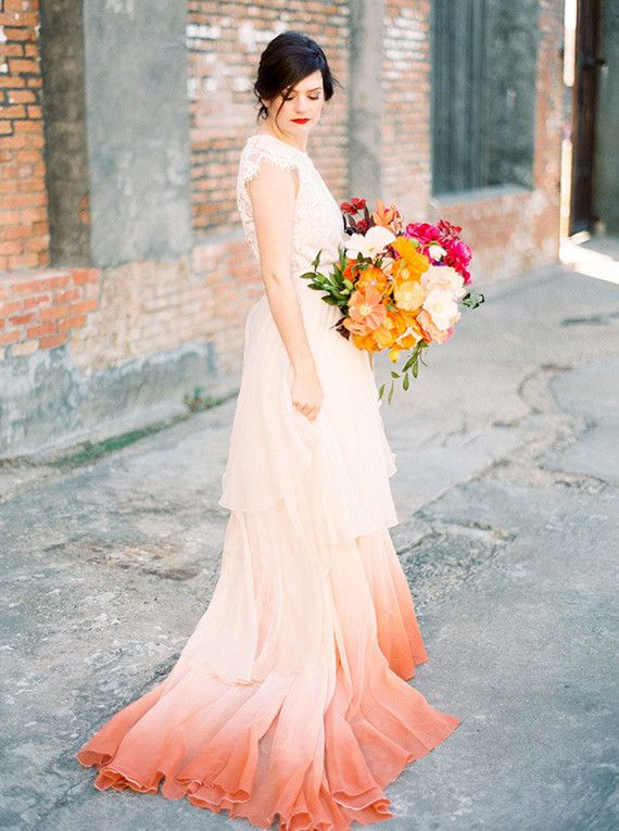 Fall Paper Flower Bouquet With Dip Dyed Dress Wedding Party Ideas 100 Layer Cake Dip Dye Wedding Dress Dye Wedding Dress Chiffon Wedding Dress,Luxury Wedding Princess Corset Princess Wedding Dresses
