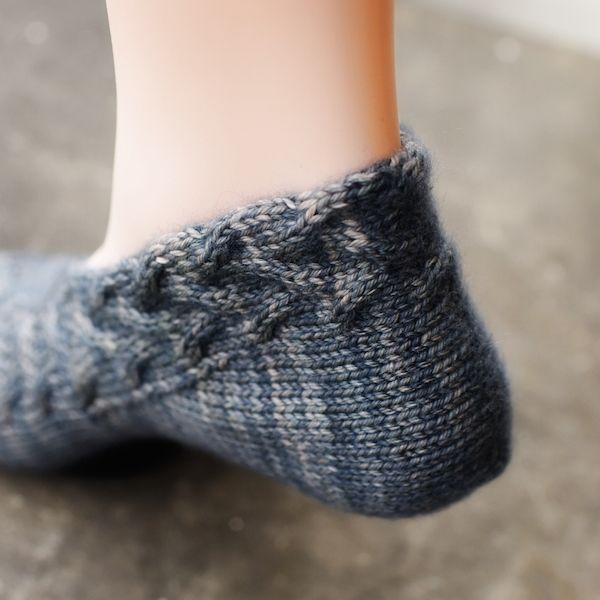 Cabled slipper, love how the heel comes together!