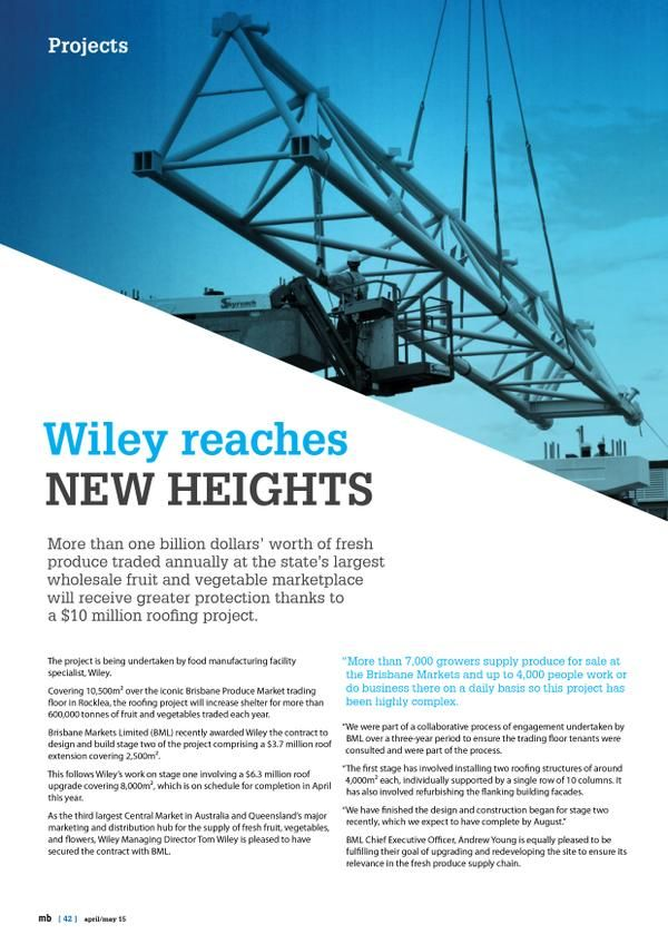 Master Builders Magazine  'Wiley reaches new heights' page 1