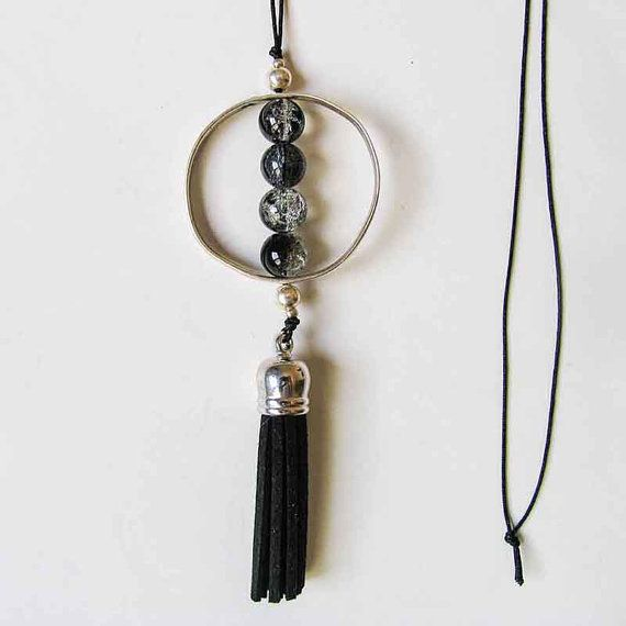 Circle Geometric Necklace Black Leather Tassel by totalhandmadeD