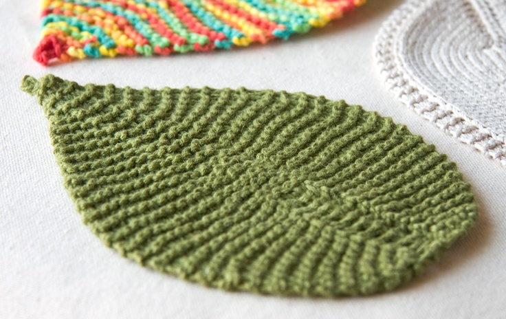 Knit pattern for a large leaf  (technically a leaf washcloth)  by Tricksy Knitter.