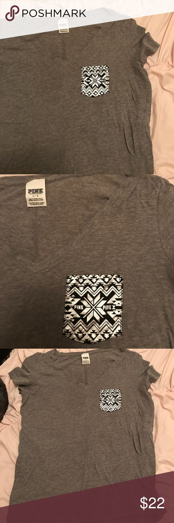 EUC short sleeve VS Pink lounge chevron pocket T Grey background with black and silver pocket size L. Like new, worn a handful of times. Runs true to size. PINK Victoria's Secret Tops Tees - Short Sleeve