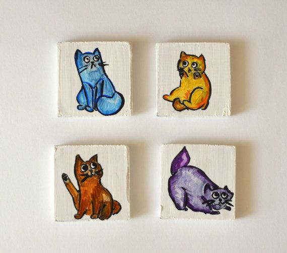 Wooden Cat Magnets  Hand-painted   Wooden Fridge by KubuHandmade