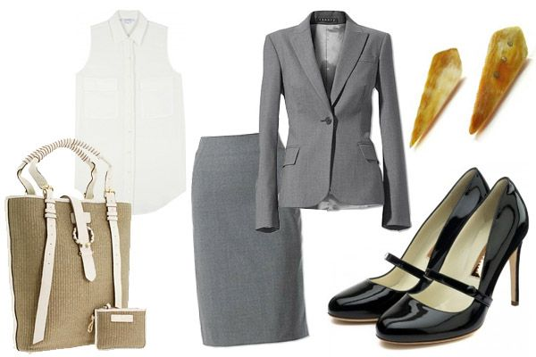 Corporate summer outfit, sleeveless silk top for the outdoor heat and blazer to keep warm in the air conditioned office.