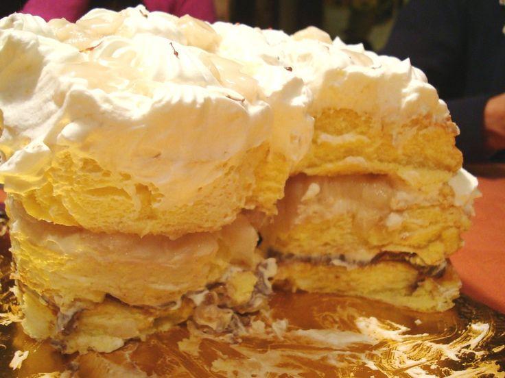 Peruvian Cloud-like cake souffle with cherimoya, dulce de leche and whipped cream