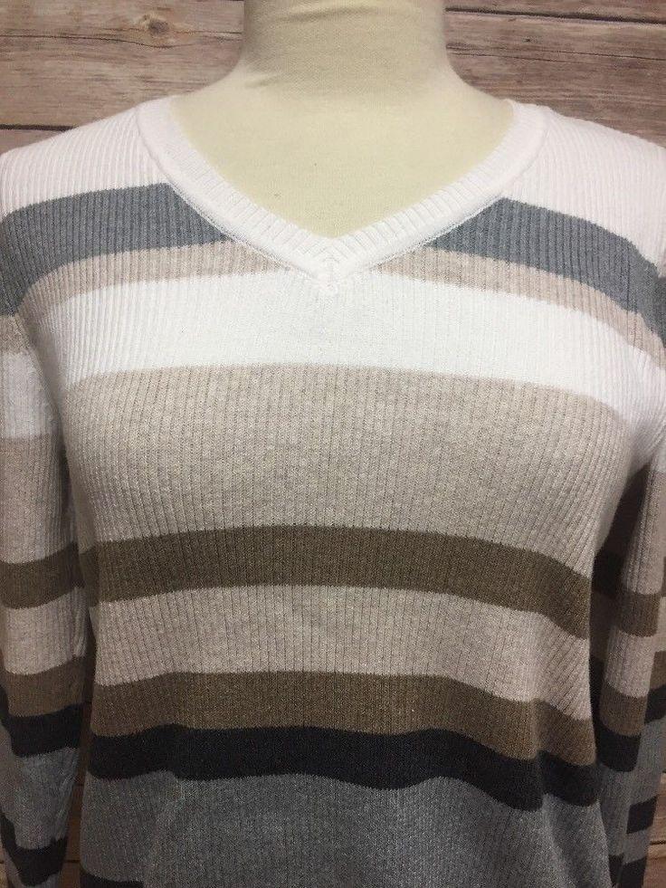 New Karen Scott Sweater Striped Gray Khaki Petite Medium P/M #KarenScott #VNeck